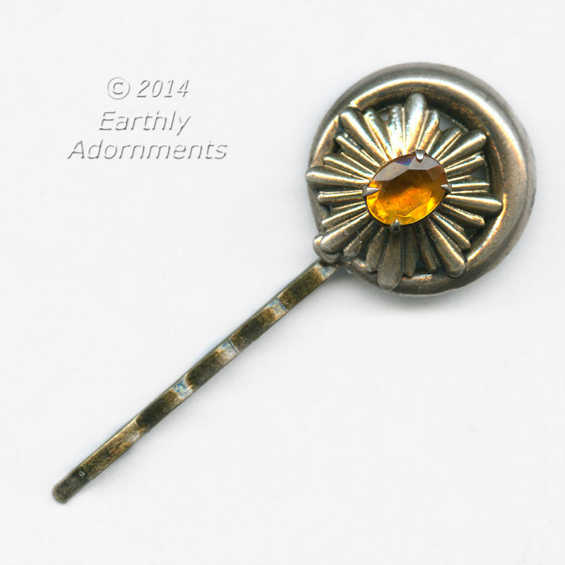 Repurposed brass earring with topaz glass surrounded with celestial brass design hair pin. ac-h-0131e