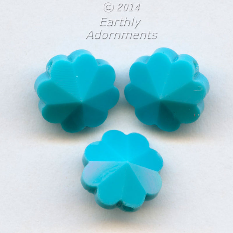 Vintage Swarovski opaque turquoise daisy margarita beads, Art. 5110, 10mm. Pkg of 4. b11-bl-2097