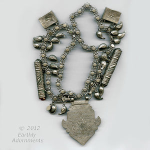Antique large Islamic Central Asian tribal silver amulet and talisman chain necklace. nlet806