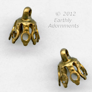 Oxidized brass up-eye bead cap. 8x7mm. Pkg of 4. B9-2291