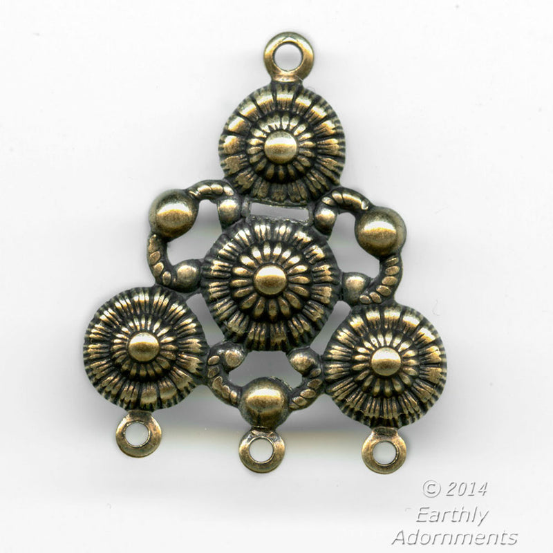 Oxidized brass stamped chandelier pendant connector. 30x25mm. Pkg. of 2. B9-2294(e)