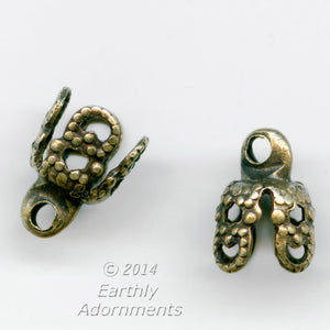 Oxidized brass filigree up-eye bead cap. 8x6mm. Pkg. of 4. B9-2295(e)