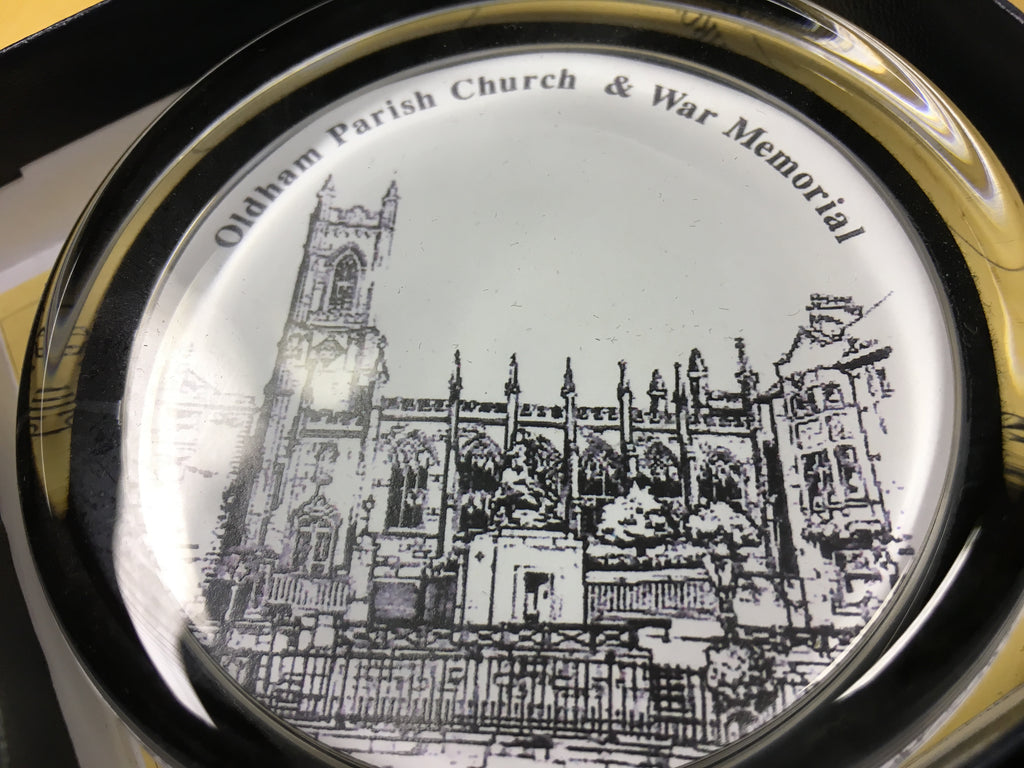 Oldham Histories paperweight - Oldham Parish Church
