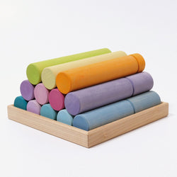 Grimms Large Building Rollers Pastel - Number Play - The Modern Playroom