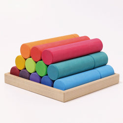 Grimms Large Building Rollers Rainbow - Number Play - The Modern Playroom