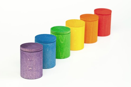 6 Coloured Cups with Cover