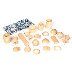Joguines Grapat Treasure Bag with 20 Natural Wooden Pieces - Number Play - The Modern Playroom