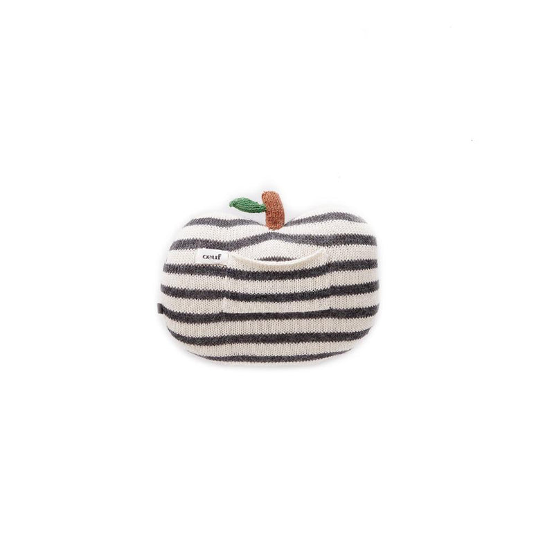 Mini Apple Pillow-Dark Grey/White Stripes