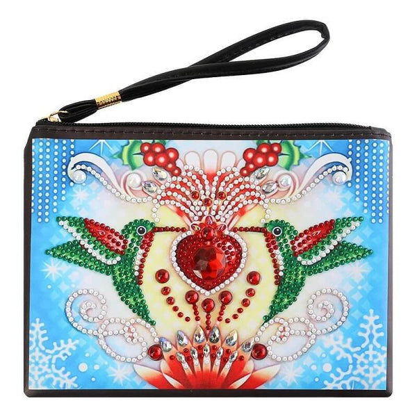 Small Leather Clutch Bag With Wristlet - Red Gem Birds Diamond Art Design