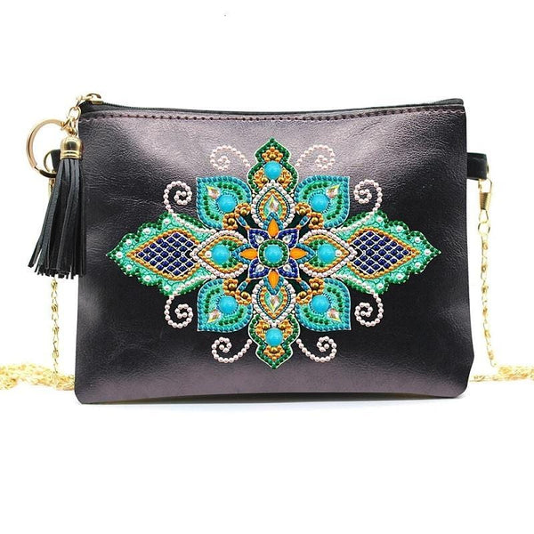 Small Leather Crossbody Bag With Chain - Turquoise Mandala Diamond Art Design