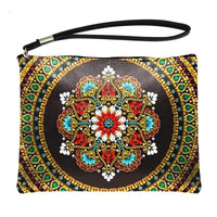Small Leather Clutch Bag With Wristlet - Golden Red Mandala Diamond Art Design