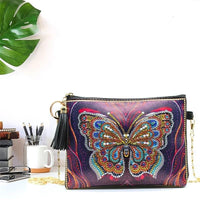Small Leather Crossbody Bag With Chain - Golden Blue Butterfly Diamond Art Design