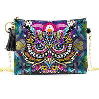 Small Leather Crossbody Bag With Chain - Owl Diamond Art Design
