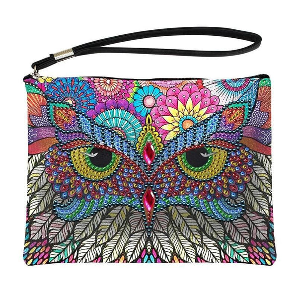 Small Leather Clutch Bag With Wristlet - Colorful Owl Diamond Art Design