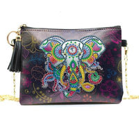Small Leather Crossbody Bag With Chain - Elephant Diamond Art Design