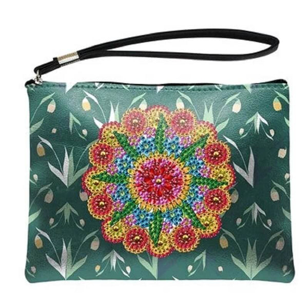 Small Leather Clutch Bag With Wristlet - Flower Garden Diamond Art Design