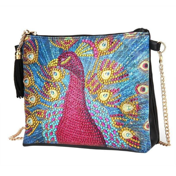 Small Leather Crossbody Bag With Chain - Peacock Diamond Art Design