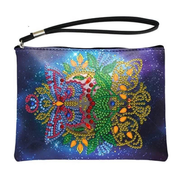 Small Leather Clutch Bag With Wristlet - Night Sky Diamond Art Design