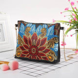 Small Leather Crossbody Bag With Chain - Red Lotus Diamond Art Design