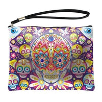 Small Leather Clutch Bag With Wristlet - Skulls Diamond Art Design
