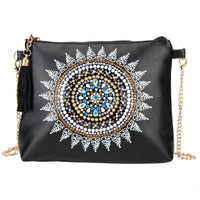 Small Leather Crossbody Bag With Chain - White Mandala Diamond Art Design