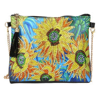 Small Leather Crossbody Bag With Chain - Sunflower Diamond Art Design