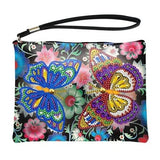 Small Leather Clutch Bag With Wristlet - Butterfly Garden Diamond Art Design