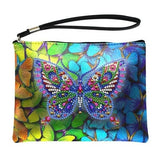 Small Leather Clutch Bag With Wristlet - Butterfly Paradise Diamond Art Design