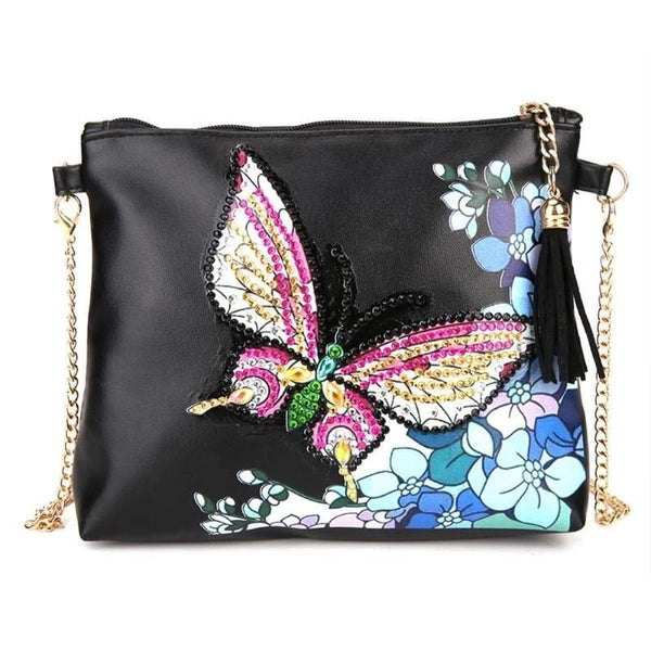 Small Leather Crossbody Bag With Chain - White Pink Butterfly Diamond Art Design