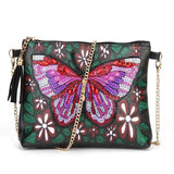 Small Leather Crossbody Bag With Chain - American Butterfly Diamond Art Design