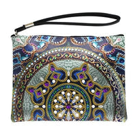 Small Leather Clutch Bag With Wristlet - Golden Wheel Mandala Diamond Art Design