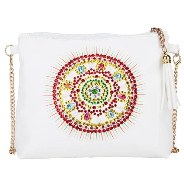 Small Leather Crossbody Bag With Chain - Sun Mandala Diamond Art Design