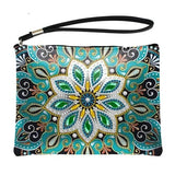 Small Leather Clutch Bag With Wristlet - Green Gem Lotus Diamond Art Design