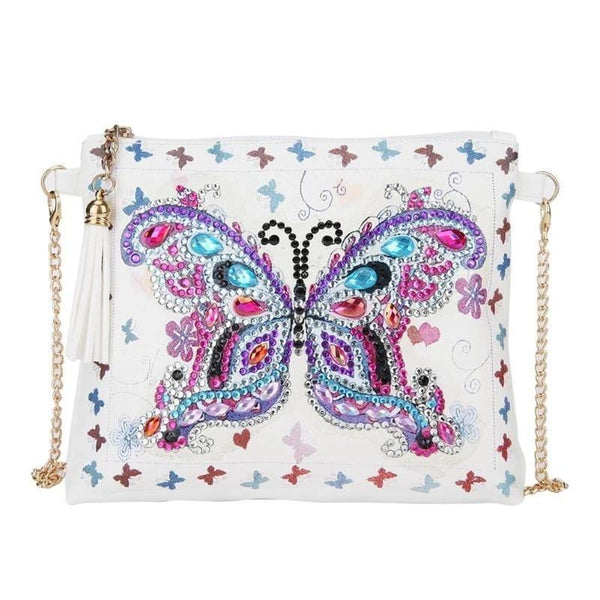 Small Leather Crossbody Bag With Chain - Blue Pink Butterfly Diamond Art Design