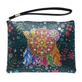 Small Leather Clutch Bag With Wristlet - Dreamcatcher Diamond Art Design