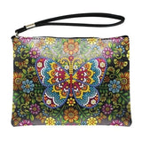 Small Leather Clutch Bag With Wristlet - Colorful Butterfly Diamond Art Design