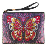 Small Leather Clutch Bag With Wristlet - Red Butterfly Diamond Art Design