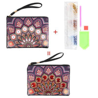 Small Leather Clutch Bag With Wristlet - Ruby Sunrise Diamond Art Design