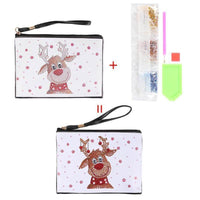 Small Leather Clutch Bag With Wristlet - Rudolf The Reindeer Diamond Art Design