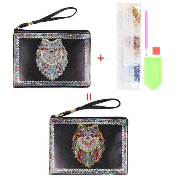 Small Leather Clutch Bag With Wristlet - Wolf Diamond Art Design