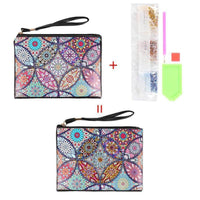 Small Leather Clutch Bag With Wristlet - Fireworks Mandala Diamond Art Design