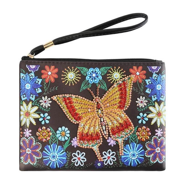 Small Leather Clutch Bag With Wristlet - Golden Red Butterfly Diamond Art Design