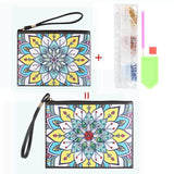 Small Leather Clutch Bag With Wristlet - Yellow Blue Lotus Diamond Art Design