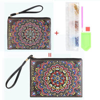Small Leather Clutch Bag With Wristlet - Blue Red Mandala Diamond Art Design