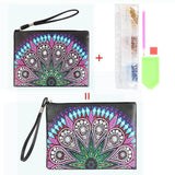 Small Leather Clutch Bag With Wristlet - Green Lotus Mandala Diamond Art Design