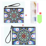 Small Leather Clutch Bag With Wristlet - Blue White Mandala Diamond Art Design