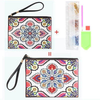 Small Leather Clutch Bag With Wristlet - Red Pink Mandala Diamond Art Design