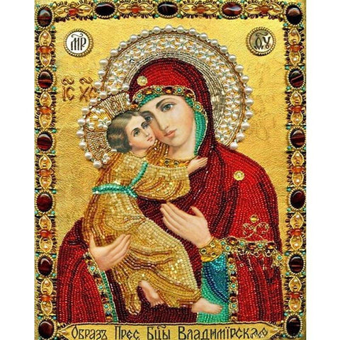 Virgin Mary Embracing Baby Jesus - Diamond Art Kit