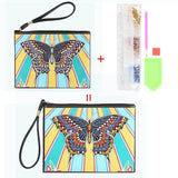 Small Leather Clutch Bag With Wristlet - Butterfly Rays Diamond Art Design