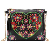 Small Leather Crossbody Bag With Chain - Heart Diamond Art Design